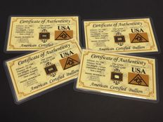 USA - American certified bullion - 4 x 1 grain 999 gold - in blister card with certificate