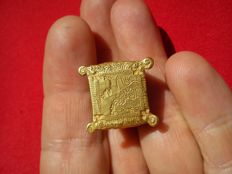 Gold ring. Order of Calatrava. 13th-14th century, Medieval. Weight 10.3 g, 23 mm in diameter.  Spain