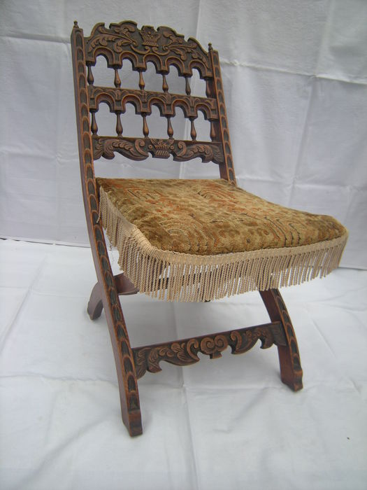 Hand Carved Neo Gothic Antique Children S Folding Chair