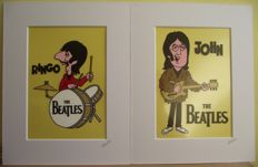 Ringo Starr/ John Lennon. The Beatles - Cartoon - Re- imagined, Hand crafted & Hand Painted Cels