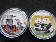 2 x 1 Oz Silver Bullion : 1 Oz China Panda 10 Yuan Silver - Color BU 2009  and  1 Oz Australia Kookaburra $1   Silver - Color BU 2017