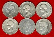 Spain - Set of 6 silver coins of 5 pesetas - Alfonso XIII, all different (1888, 1889, 1891, 1893, 1894, 1898). (6).