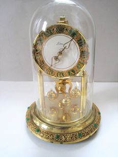 S. HALLER Simonswald Germany – small version 23 cm in height – anniversary torsion pendulum clock with glass dome – middle of the 20th century
