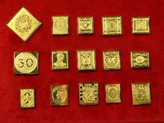 World - Collection of 15 different silver stamp replicas with 24 carat gold-plated