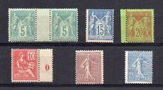 France 1876/84 - Sage type II selection - Mouchon - Including Millesime and Semeuse - Yvert no. 75, 90, 96, 116, 131, 132