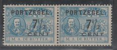 The Netherlands 1907 - Port De Ruyter type I and II linked – NVPH P37b