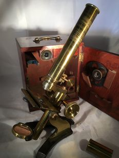 Brass microscope in mahogany case