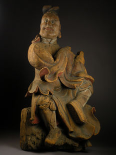 Large Temple piece  Kongorikishi statue, the muscular guardians of the Buddha -  Japan  - 17th century (early Edo)