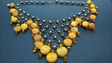 Antique necklace made of necklace silver with amber beads, amber 60 gram