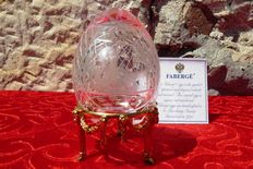 Faberge crystal - Imperial egg Collection - engraved crystal - gold plated metal - signed - numbered