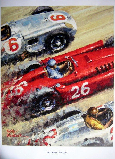 Art Print Exclusive Serie - Start Monaco Grand Prix 1955  - Artist : Keith Woodcock