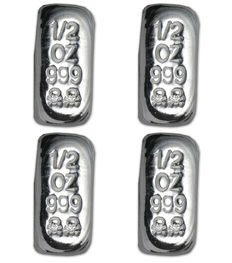 USA - Atlantis Mint - 4 x 999 Silver Bars - Skull and Crossbones - Handmade - Unique