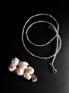 Silver 925 Necklace and Pendant with Pearls  -46cm
