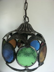 Authentic metal hanging lamp with colored glas
