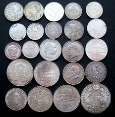 Austria – Florin through 100 Shilling 1879/1978 (23 different ones) – silver