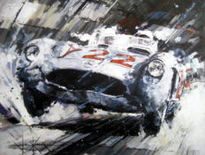"Fine Art Print  - "" Heading For Victory "" Mercedes-Benz 300 SLR/Moss-Jenkinson - Mille Miglia 1955"