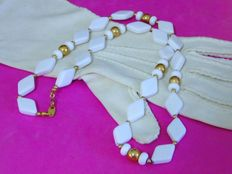 Vintage 1970s  - Trifari  - USA - Art Deco revival - Gold plated beads & White Lucite Necklace