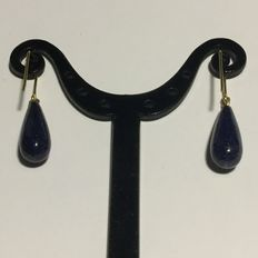 18 kt gold and Lapis lazuli AA+ droplet earrings - Length: 3.5 cm