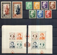 Monaco 1949/1950 - The 2 complete years with Air Mail - Yvert no. 324 to 250 and Air Mail 36 to 50.