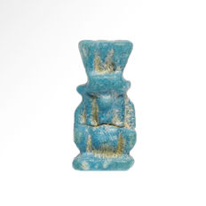 Egyptian Turquoise Faience Bes Amulet, 1.7 cm H
