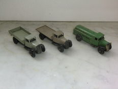 Dinky Toys - Scale 1/48 - Lot with 3 models: Petrol` Tank Wagon No.25d, Flat Truck No.25c & Tipping Wagon No.25e