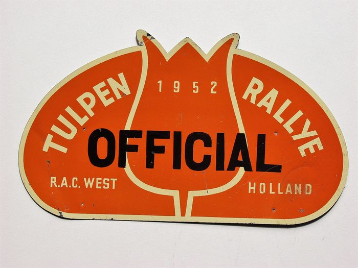 Original old rally plaque of the Tulpen Rallye