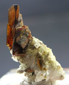 Rare Orange Red Damage Free Brookite Crystals with Quartz Specimen - 45 x 32 x 17mm -  65 cts
