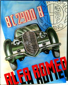 Alfa Romeo - Large advertising sign, woodcut and acrylic painting