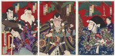 Original triptych woodblock print by Toyohara Kunichika (1835-1900) – Japan – 1884