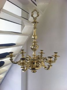 Heavy 6 - arm Bronze chandelier in Louis XIV style, second half of the 20th century