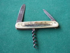 Antique pocket knife with ocean liner / cruise ship MS EUROPA with corkscrew