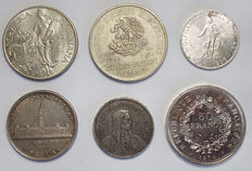 World - Lot of 6 coins (Canada, France, Mexico, Austria, Panama, Switzerland) 1932/1974 - Silver