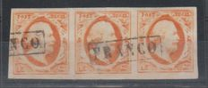 The Netherlands 1852 – King Willem III First emission – NVPH 3 in strip of three