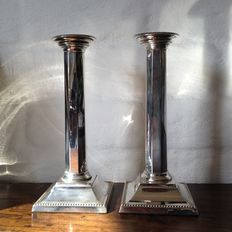 Pair of silver candle stands, Sheffield, 1908