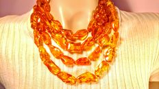 Long genuine Baltic amber honey colour necklace, necklace length 200 cm ( 2 meters), weight 161 gram
