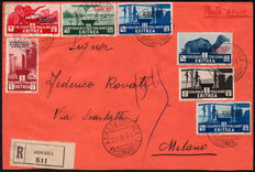 Eritrea 1934 - Important air letter with Duke of the Abruzzi stamps
