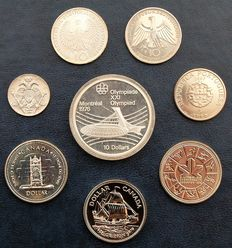World - Lot of 8 coins (Canada, Cyprus, Germany, Portugal) 1972/2007 - Silver