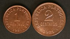 Portugal - 2 coins - 1 centavo and 2 centavos - 1921 - Portuguese Republic - Lisbon - Rare date