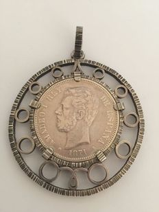 Coin pendant all in silver, Spain.