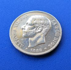 """Spain – 5 Silver pesetas Alfonso XII 1885*18*86 Madrid MS M """"Visible stars"""" Very beautiful shine, 25 g (1)"""