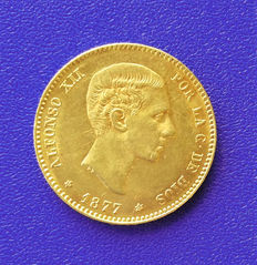 """España – 25 pesetas 1877*18*77 Alfonso XII, Madrid – """"Visible stars"""" – Beautiful uncirculated coin. Current weight: 8.08 g."""