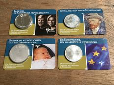 The Netherlands - 5 euro 2003 and 2004; and 10 euro 2002 and 2004 (first 4 coins) on coin card