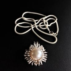Silver 925 Necklace and Pendent with Pearl  - 61,5cm