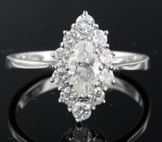 18k white gold marquise ring set in the centre with a marquise cut diamond and brilliant cut diamonds in entourage, ring size 18.5 (58)
