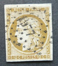 France 1850 - 10c yellow bistre signed Brun and Calves with Calves and Jacquard digital certificate - Yvert no. 1
