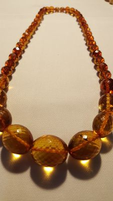 Antique amber necklace, honey colour, Kaliningrad cut, 57 grams