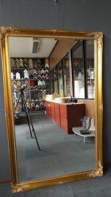 Extremely large and wide mirror with facet cut glass - hand gilded -106x168cm - Classic