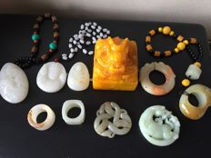 A collection of ten mineral stones