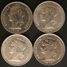 Portugal - 4 x 50 Centavos Silver Coins - 1912, 1913, 1914 and 1916 - Portuguese Republic - Lisbon