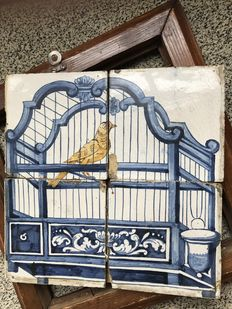 2 Harlinger tile pictures, Canary in cage
